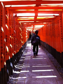 The Fushimi Inari shrine is famous for its tori gates.