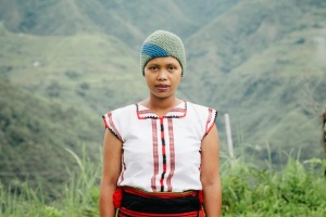 One of Ricefield's weavers wearing her knit cap